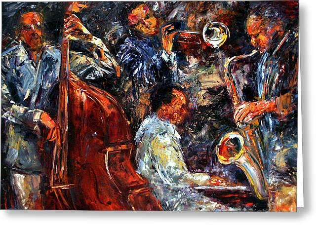 Hot Jazz Three Greeting Card by Debra Hurd