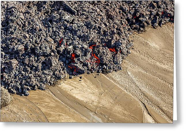 Hot Lava Creeping By Tire Tracks Greeting Card