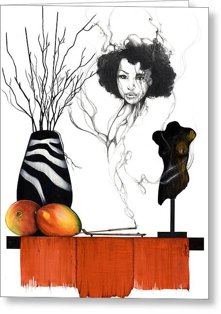 African-american Mixed Media Greeting Cards - Hot Like Fire III Greeting Card by Anthony Burks Sr