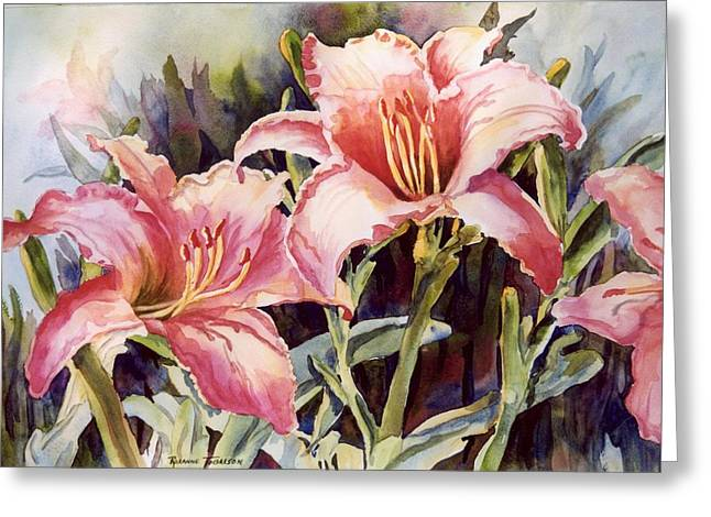 Greeting Card featuring the painting Hot Lillies by Roxanne Tobaison