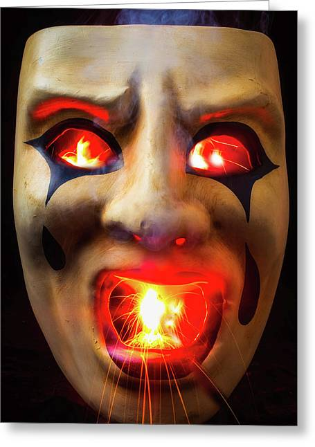 Hot Mask Greeting Card by Garry Gay