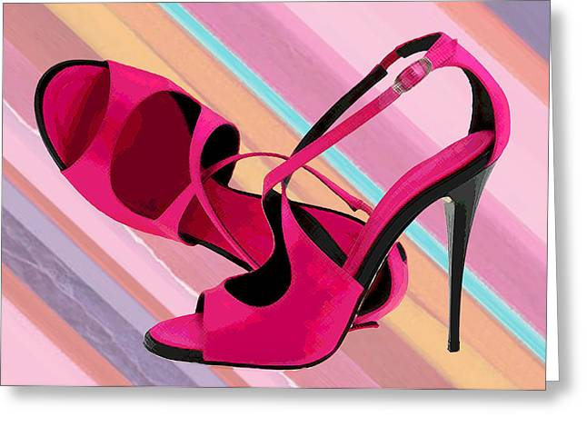 Boot Fetish Greeting Cards - Hot Mommas Hot Pink Pumps Greeting Card by Elaine Plesser