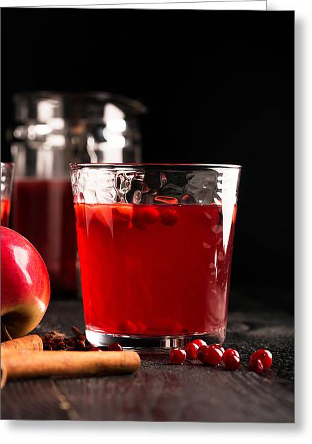 Hot Mulled Wine Prepared With Fruits And Various Spices Greeting Card