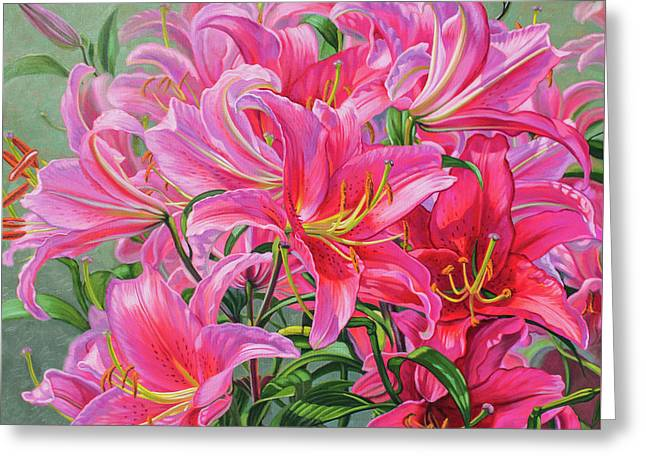 Hot Pink Asiatic Lilies Greeting Card