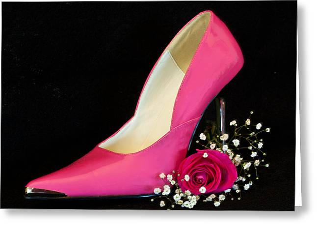 Hot Pink Pump Greeting Card by Patti Deters