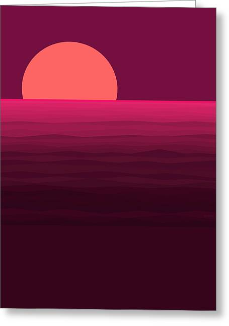 Hot Pink Sunset Greeting Card by Val Arie