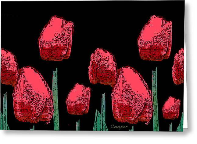 Hot Red Tulips Greeting Card