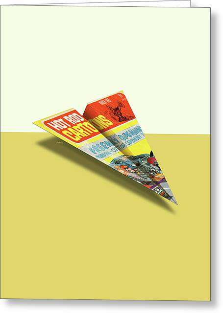 Hot Rod Cartoons 1969 03 Mad Paper Airplanes Greeting Card by YoPedro