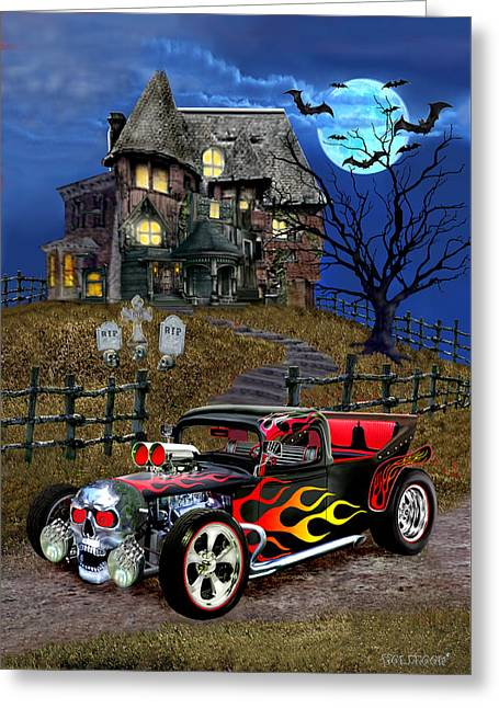 Hot Rod Of Haunted Hill Greeting Card