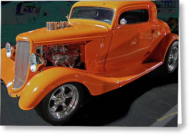 Yellow Black White Silver Greeting Cards - Hot Rod Orange Greeting Card by DigiArt Diaries by Vicky B Fuller