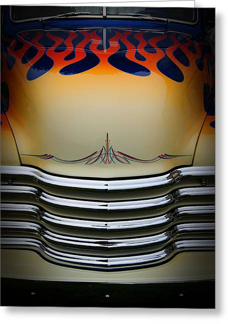Hot Rod Truck Hood Greeting Card