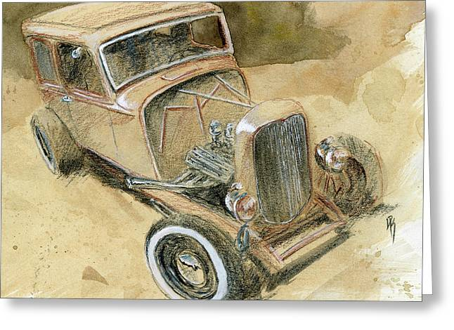 Greeting Card featuring the drawing Hot Rod Tudor by David King
