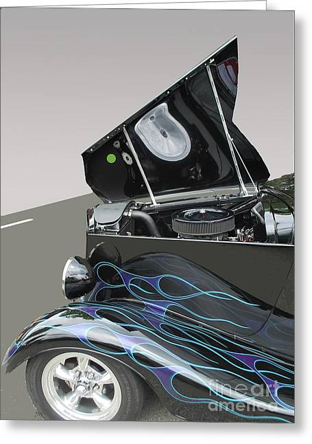 Greeting Card featuring the photograph Hot Rod With Flames by Bill Thomson