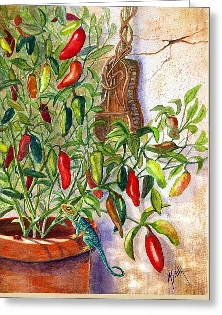 Greeting Card featuring the painting Hot Sauce On The Vine by Marilyn Smith