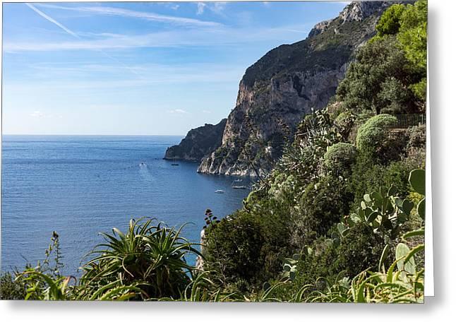 Hot Seaside Afternoon - Mediterranean Magic Of Capri Greeting Card by Georgia Mizuleva