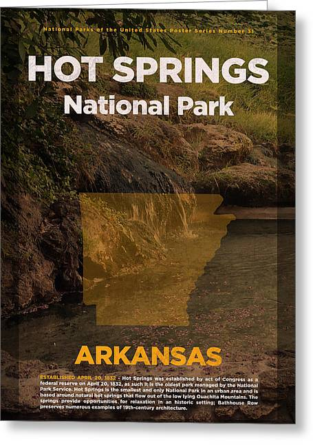 Hot Springs National Park In Arkansas Travel Poster Series Of National Parks Number 31 Greeting Card