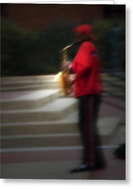 Musicans Greeting Cards - Hot Street Sax Greeting Card by Fred Lassmann