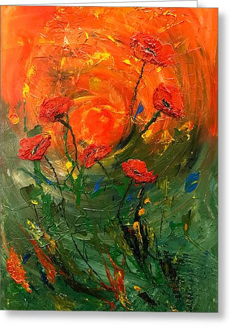 Hot Summer Poppies Greeting Card