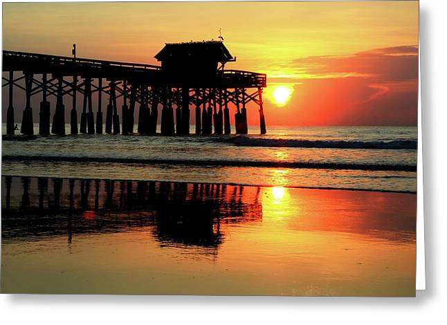 Hot Sunrise Over Cocoa Beach Pier  Greeting Card