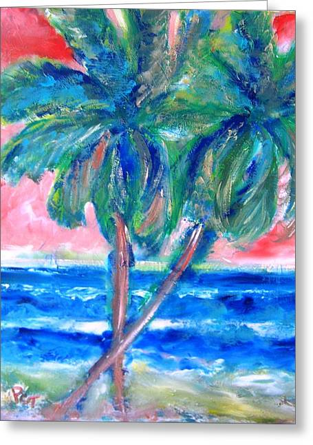 Hot Tropics With Palm Trees Greeting Card