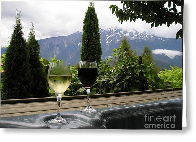 Hot Tub And Wine Greeting Card