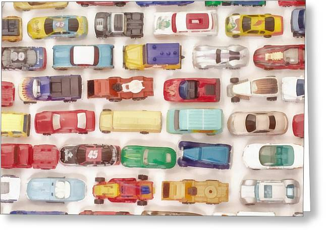 Hot Wheels Collection Painting Greeting Card by Edward Fielding
