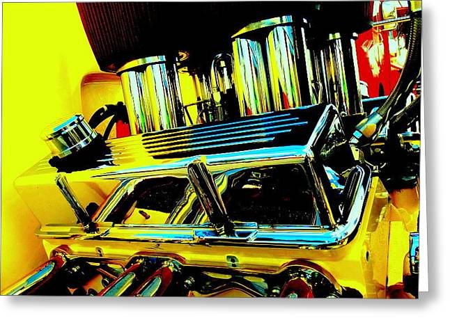 Hot Yellow Chevy Motor Greeting Card by Louis Meyer
