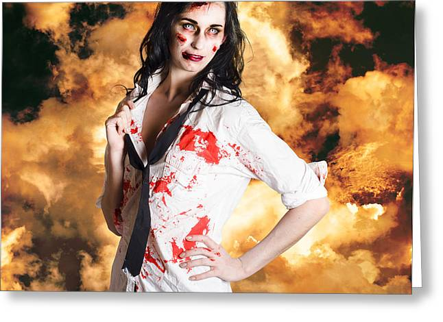Hot Zombie Business Woman On Fire Background Greeting Card