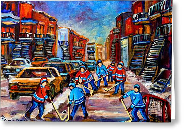 The Plateaus Greeting Cards - Hotel De Ville Montreal Hockey Street Scene Greeting Card by Carole Spandau