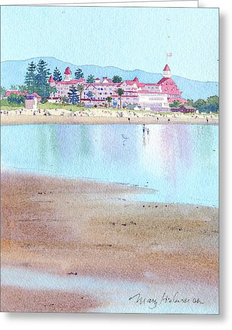 Hotel Del Coronado Low Tide Greeting Card by Mary Helmreich