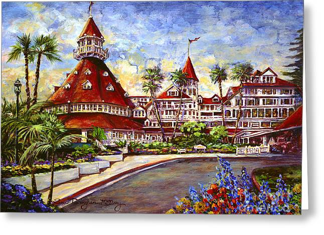 Hotel Del With Flowers Greeting Card
