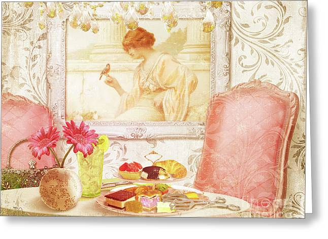 Hotel Paris, Tea Room For Lunch Circa 1900 Greeting Card by Tina Lavoie