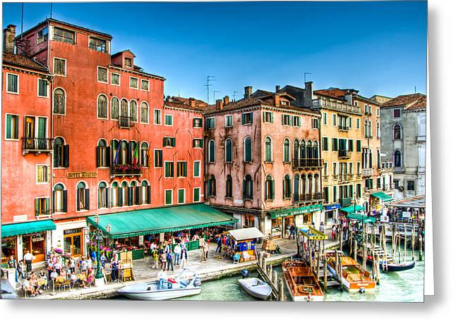 Jon Berghoff Greeting Cards - Hotel Rialto    Venice Italy Greeting Card by Jon Berghoff