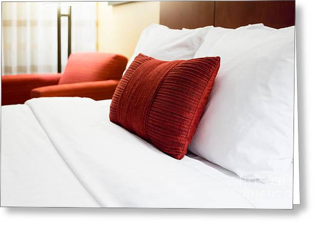 Hotel Room Bed Pillows Greeting Card by Paul Velgos