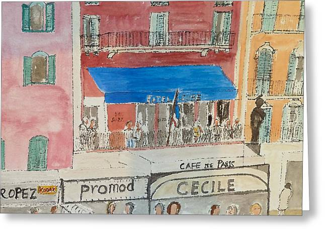 St.tropez Paintings Greeting Cards - Hotel Sube St Tropez 2012 Greeting Card by Bill White