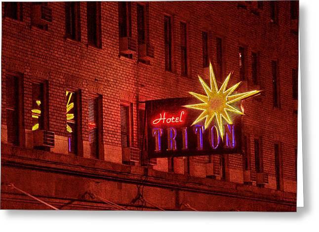Hotel Triton Neon Sign Greeting Card