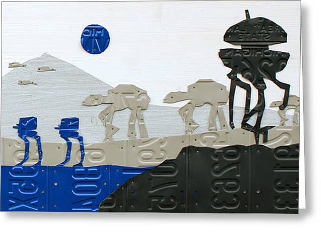 Hoth Star Wars Scene Panorama Made Using Vintage Recycled License Plates On White Wood Plank Greeting Card by Design Turnpike