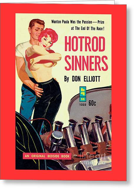 Greeting Card featuring the painting Hotrod Sinners by John Duillo