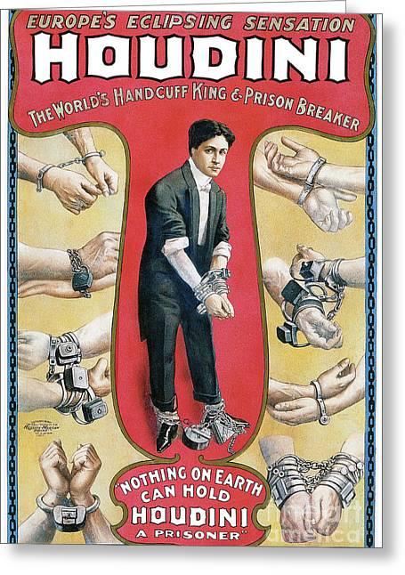 Houdini Advertising Poster 1906 Greeting Card by Jon Neidert