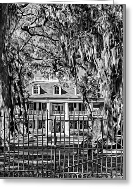 Houmas House Plantation 2 - Bw Greeting Card