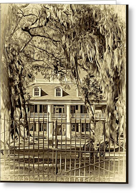 Houmas House Plantation 2 - Sepia Greeting Card