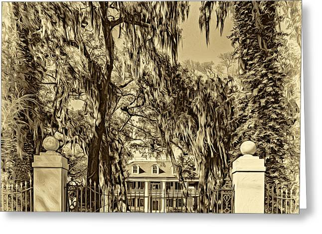 Houmas House Plantation 4 - Sepia Greeting Card