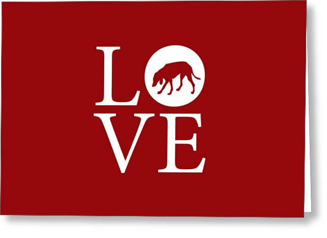 Hound Dog Love Red Greeting Card by Nancy Ingersoll