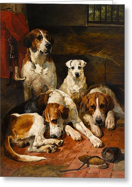 Hounds And A Terrier In A Kennel Greeting Card
