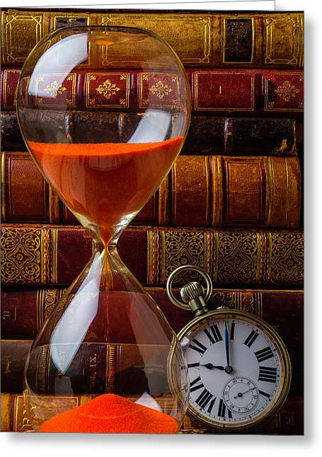 Hourglass And Pocket Watch Greeting Card by Garry Gay