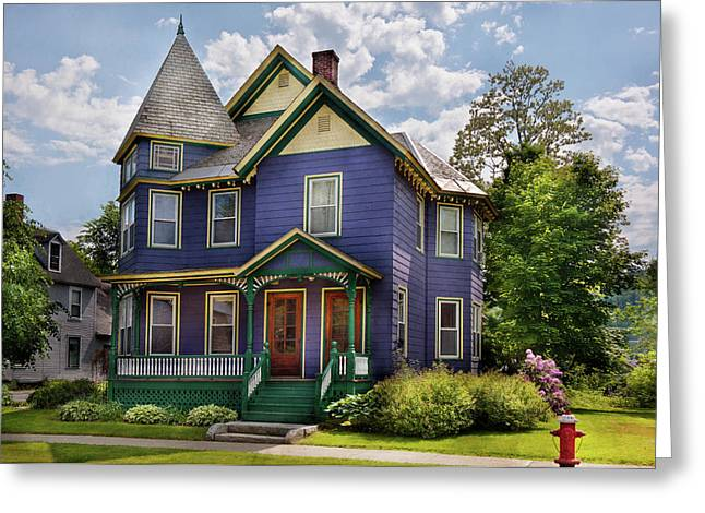 House - Victorian - Waterbury Vt - There Lived An Old Lady Who Lived In A House Greeting Card by Mike Savad