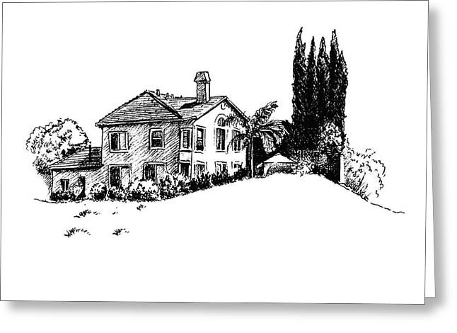 House And Cypresses Greeting Card