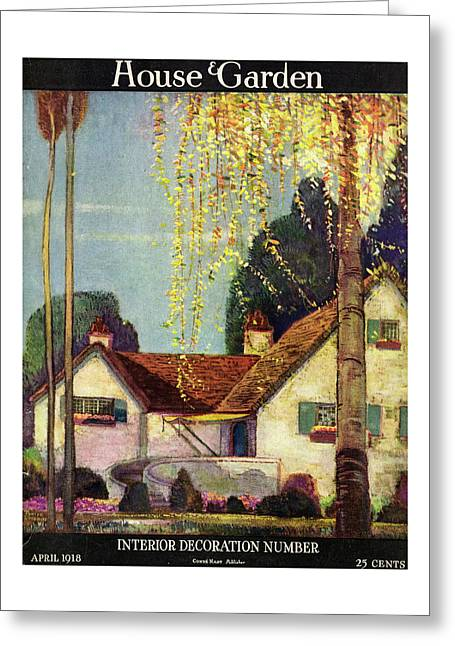 House And Garden Interior Decoration Number Cover Greeting Card