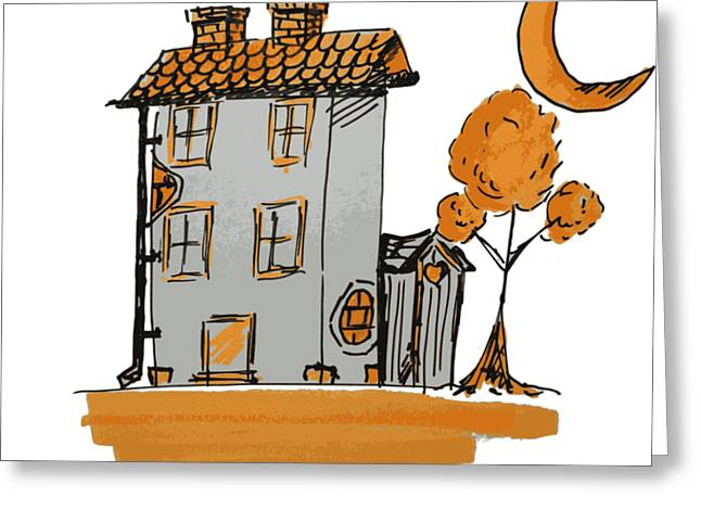 House And Moon Greeting Card