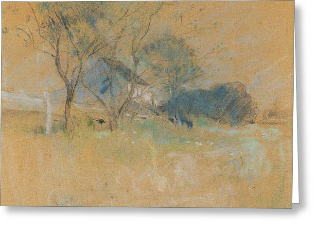 House And Tree Greeting Card by John Henry Twachtman